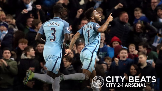 STERLING WORK: Raheem Sterling celebrates as City come from behind to defeat Arsenal