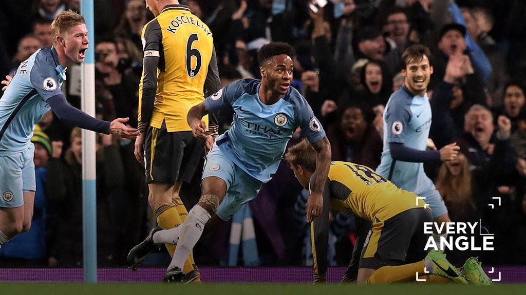 EVERY ANGLE: Raheem Sterling v Arsenal