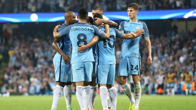 GROUP PHOTO: City players celebrate after Sergio Aguero's goal against Barcelona in the Champions League