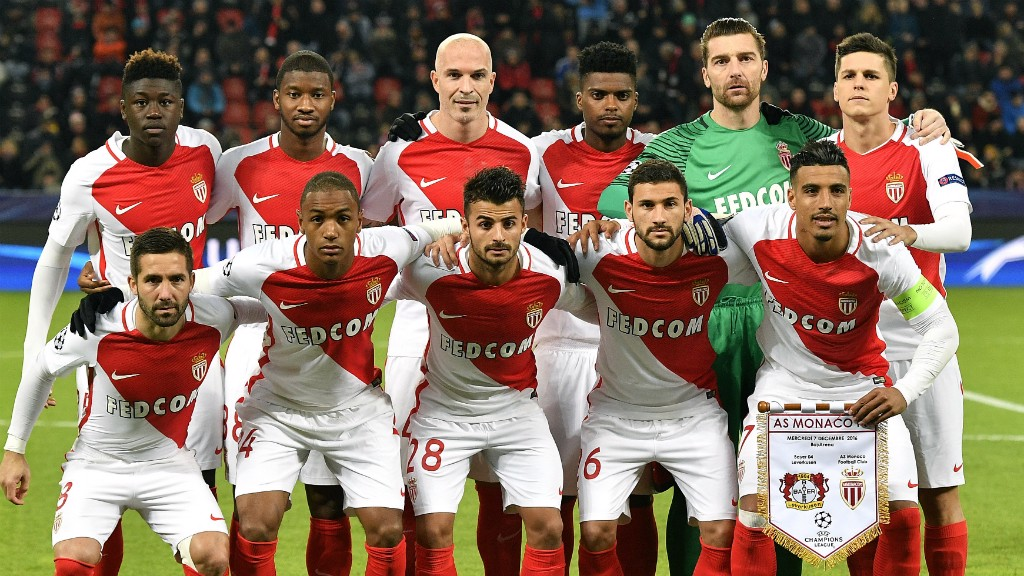 FLYING HIGH: Monaco line-up ahead of their Champions League clash against Bayer Leverkusen