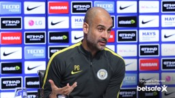 MAKING HIS POINT: Pep Guardiola at the pre- Leicester press conference