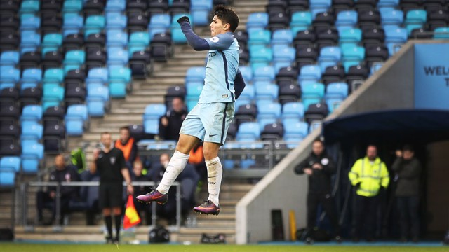 BRAHIM DIAZ: City's match winner jumps for joy after his thunderbolt