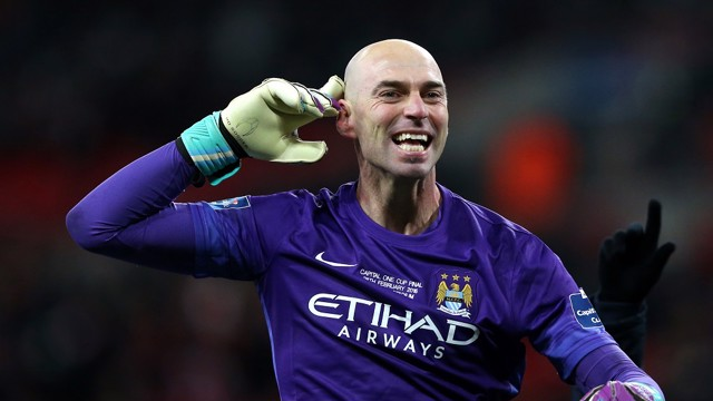 CAB RANK: Willy Caballero wins the Capital One Cup