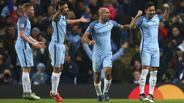 TOGETHER: Kevin De Bruyne, Jesus Navas and Pablo Zabaleta congratulate Ilkay Gundogan on his goal against Barcelona