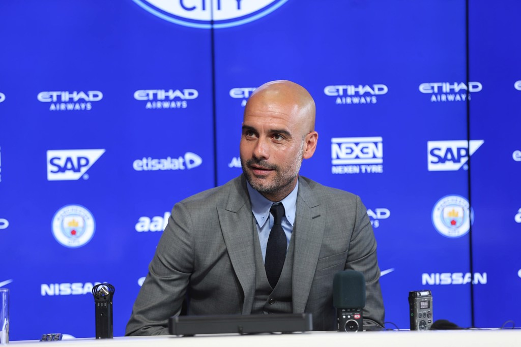 PEP TALK: Pep Guardiola addresses the media for the first time as City boss