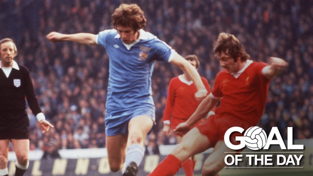 STRIKE: Mick Channon in action against Liverpool