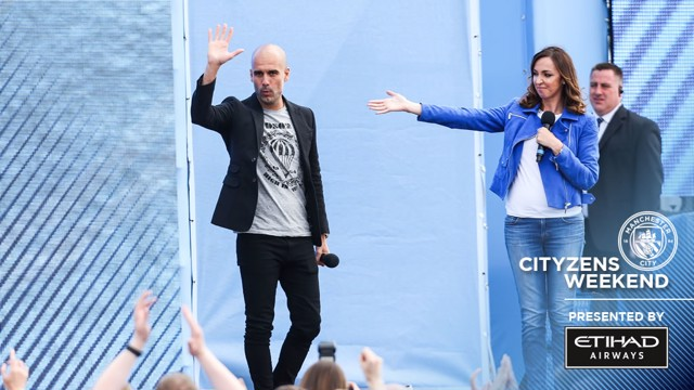 HELLO MANCHESTER: Pep received the warmest of welcomes