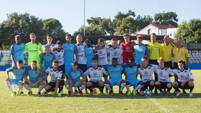 CITY IN CROATIA: EDS line up with their opposition before kick-off.