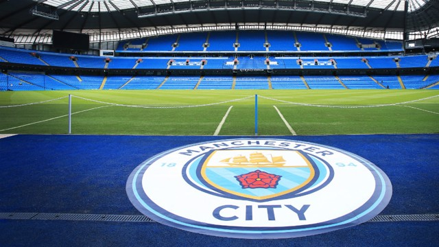 Etihad Stadium with new Man City badge