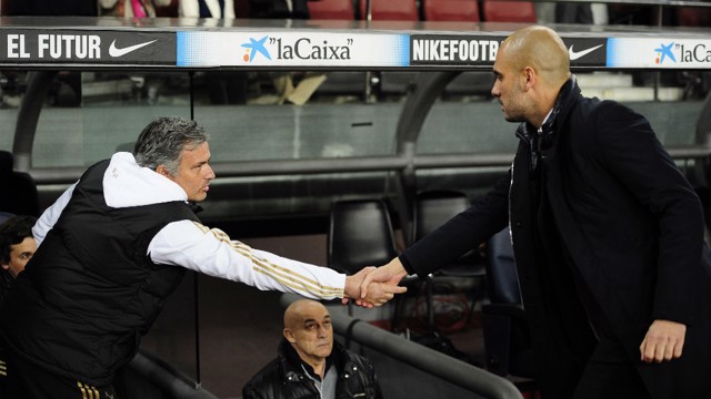 MEETING OF TWO MINDS: Guardiola and Mourinho are set to engage in battle once again.