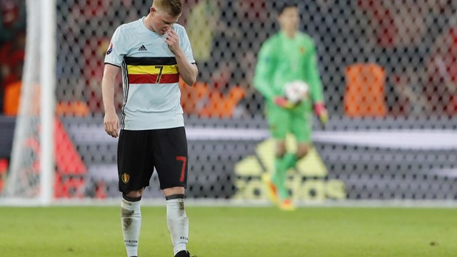 DREAM OVER: Kevin De Bruyne following Belgium's 3-1 Quarter Final defeat to Wales in Lille.