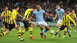 BATTLE: City and Dortmund compete for the ball during their 2012 Champions League meeting