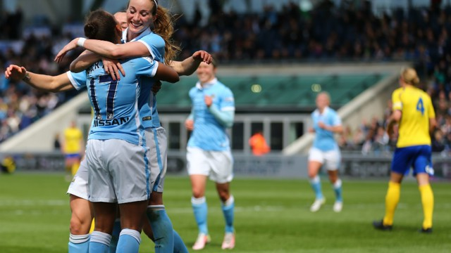 HOME COMFORTS: Kosovare Asllani's first City goal arrived against the Belles