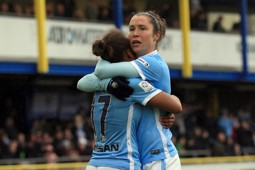 ON TARGET: Jane Ross and Nikita Parris celebrate