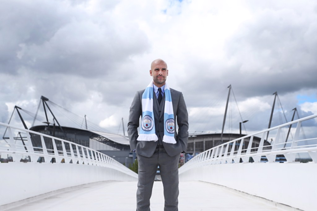 EL SENOR: Guardiola enjoys his first full stadium tour