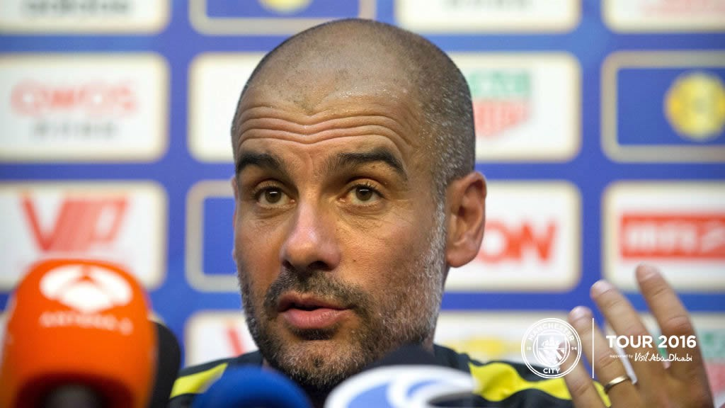 Guardiola and Delph face media in Shenzhen