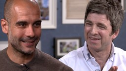 SINGING THE BLUES: Noel Gallagher sits down with new City boss Pep Guardiola