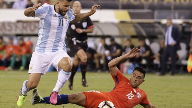 FINAL HURDLE: Sergio Aguero in action at the Copa America final
