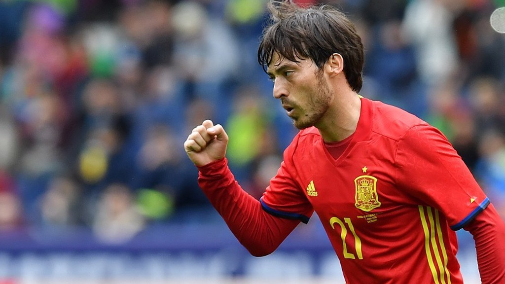 SILVA SALUTE: City midfielder looked in fine form despite Spain's exit
