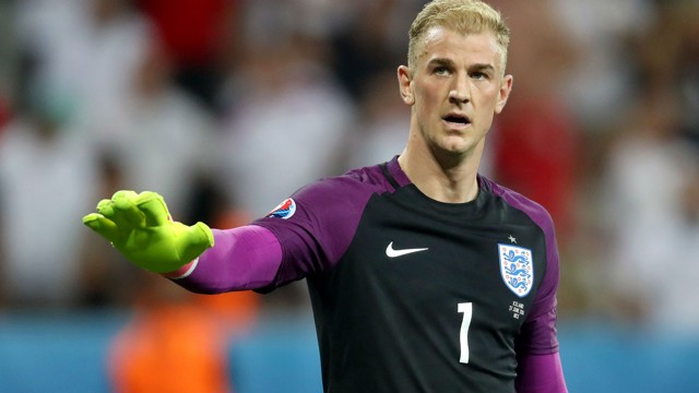 HOLDING HIS HANDS UP: Joe Hart after the end of England's shocking Euro 2016 exit
