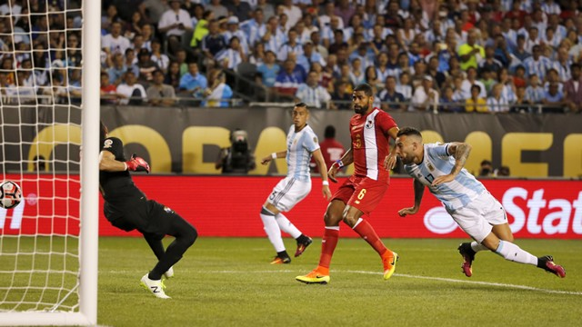 THE GENERAL: Otamendi heads Argentina into the lead