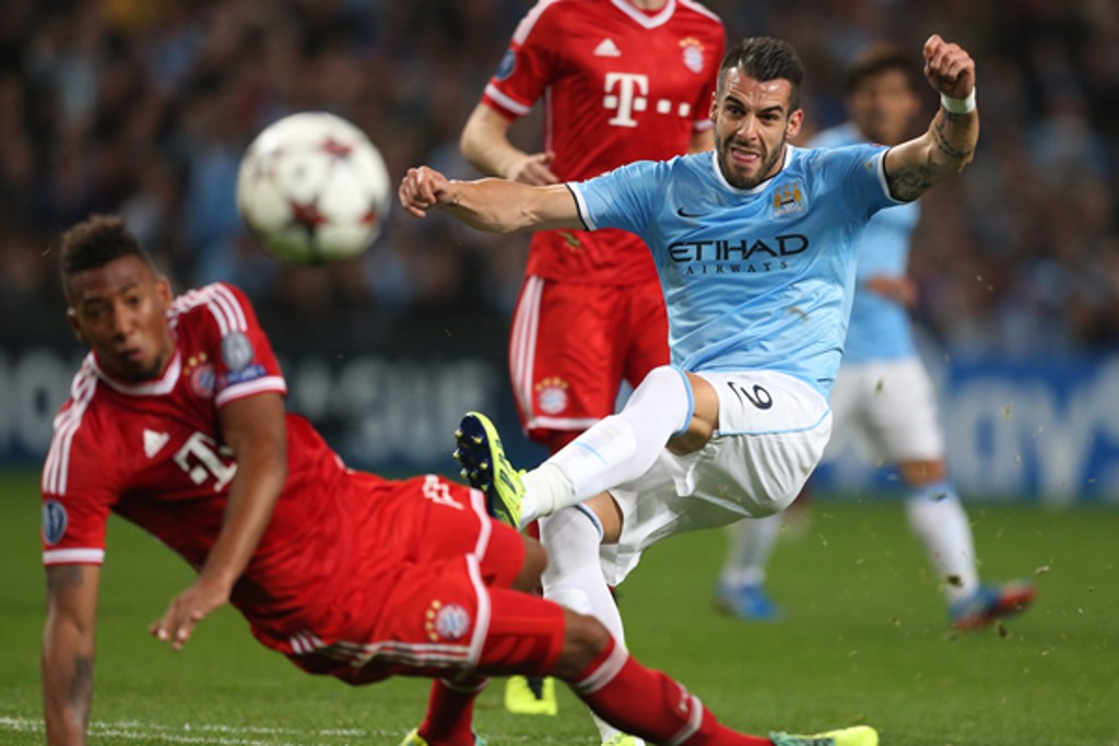THE BEAST: Negredo gave Bayern something to think about late on