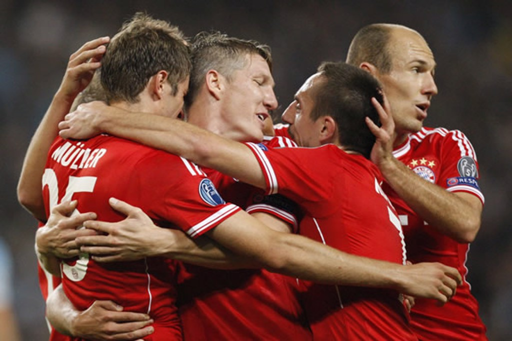 CELEBRATE: Bayern players clearly enjoying themselves at this point