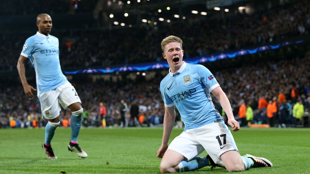 SLIDE AWAY; De Bruyne celebrates his goal against PSG