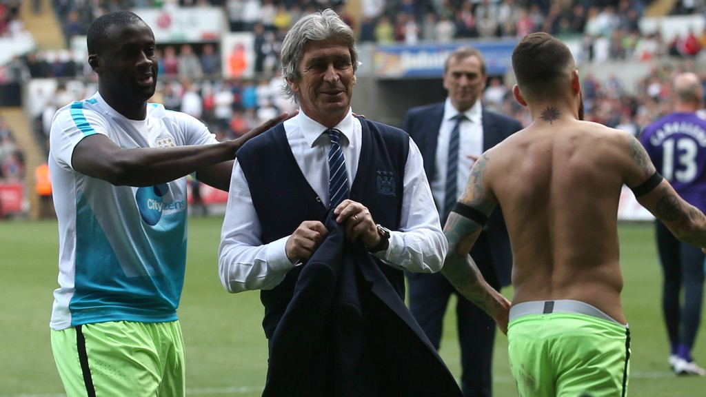 TOP MAN: Manuel Pellegrini says goodbye to City's superb away support