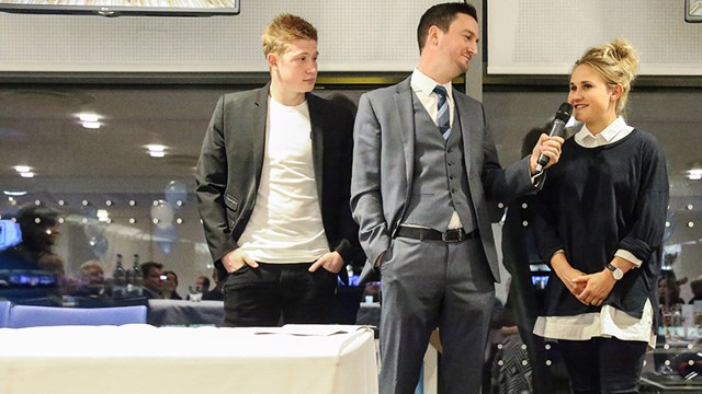 TOGETHER: Kevin De Bruyne and Izzy Christiansen joined fans at the annual Supporters Club dinner.