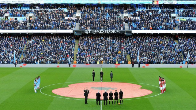 REMEMBRANCE: Manchester City players observe a minutes silence before kick off against Middlesbrough.