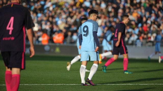 WAITING AND WATCHING: Brahim lurks on the edge of the box