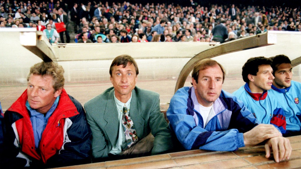 INNOVATOR: Johan Cruyff (second left) in the dugout