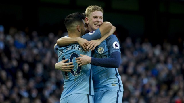 BREAKTHROUGH: De Bruyne and Aguero celebrate after finding a way past Middlesbrough
