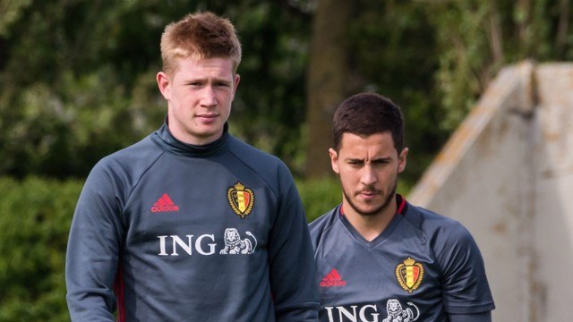 BEST OF ENEMIES: De Bruyne and Hazard play together for Belgium but will be competing for the Premier League title this season