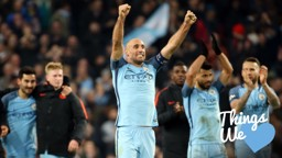ZAB MAN: Typically passionate, Pablo Zabaleta celebrates with the fans after the Champions League win over Barcelona