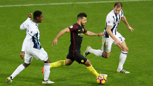 EVERY TOUCH: Aguero proved a menace for the West Brom defence all afternoon