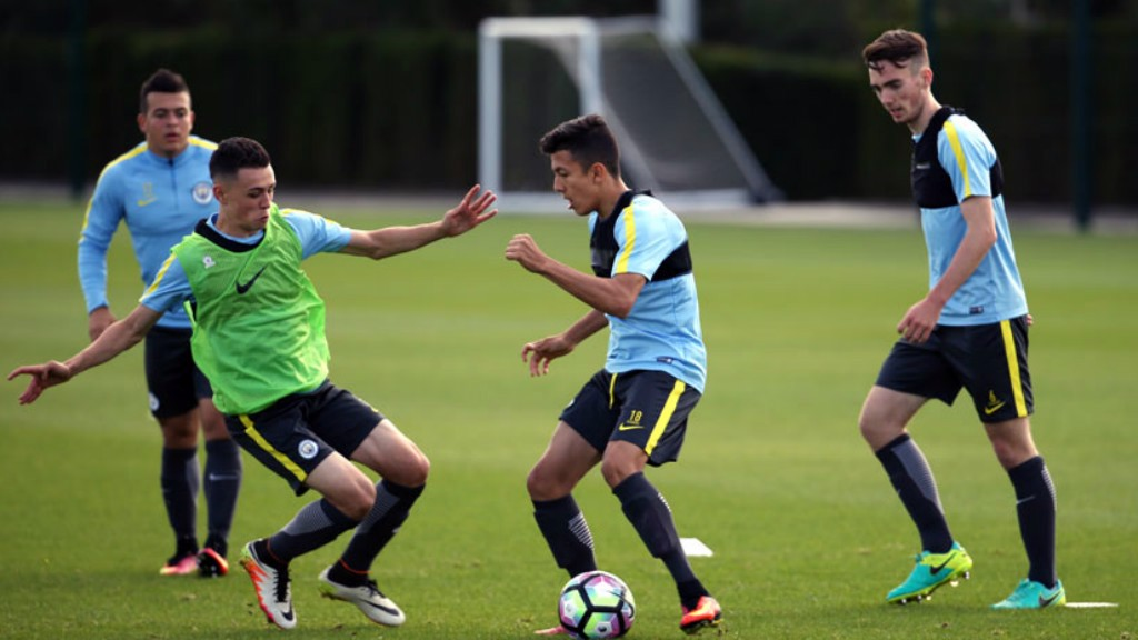 TRAINING HARD: Francis (far right) has been part of an excellent start to City's season