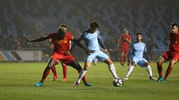 HOLD HIM OFF: Brahim protects the ball from Sakho as he creates the first goal