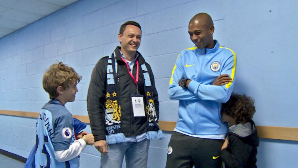 SMILES ALL ROUND: Vitor enjoys the chance to meet his hero