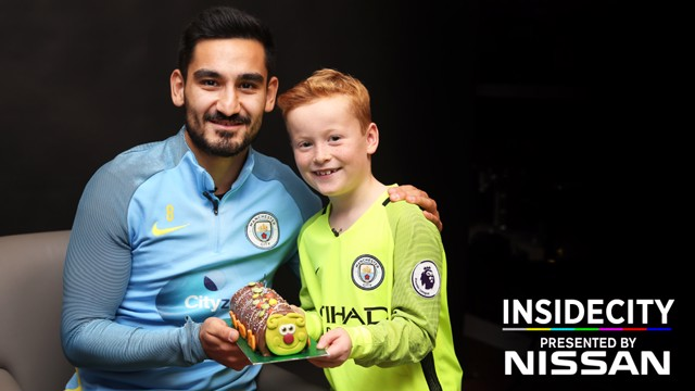 BIRTHDAY TREAT: Ilkay Gundogan and Braydon Bent pose after a special visit