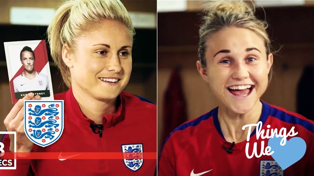 TROUBLE MAKERS: Steph Houghton and Izzy Christiansen caused controversy in a video feature for England