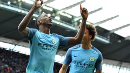 GOLDEN GOAL: Leroy Sane and Kelechi Iheanacho celebrate our goal