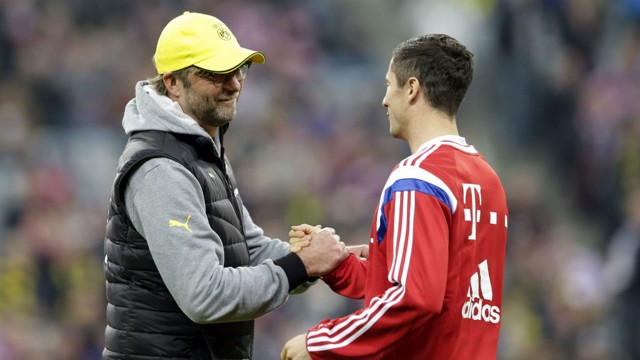 MUTUAL RESPECT: Lewandowski and Klopp worked together at Borussia Dortmund.