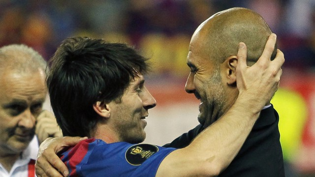 WARM EMBRACE: Messi and Guardiola had a successful working relationship at Barcelona