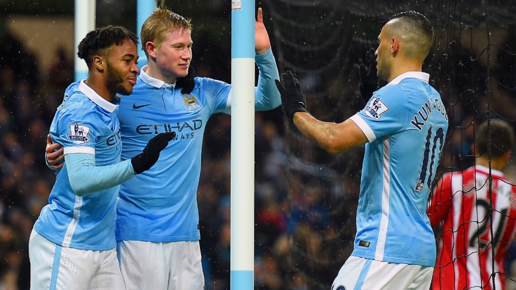 TOP TRIO: Raheem Sterling, Kevin De Bruyne and Sergio Aguero celebrate a goal against the Saints in 2015