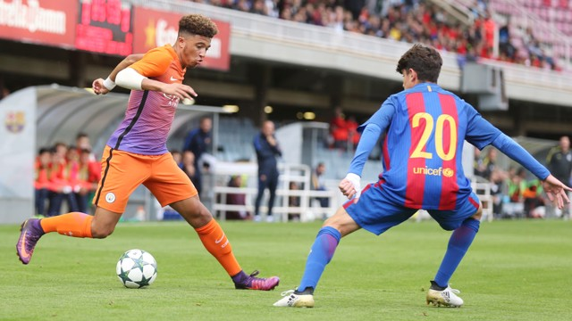SANCHO: City's winger was a threat to the Barcelona defence all afternoon