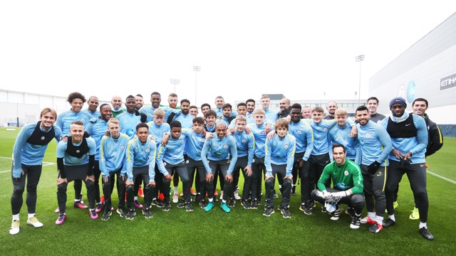 UNDER-15S: Pep Guardiola and his first-team players meet the successful under-15 side