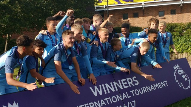 CELEBRATE: City's U15s lift the Premier League International Tournament trophy