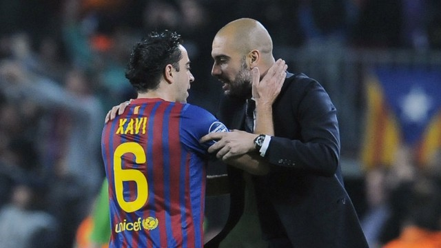 TEACHINGS: Xavi and Pep had an excellent relationship during their time together at Barcelona